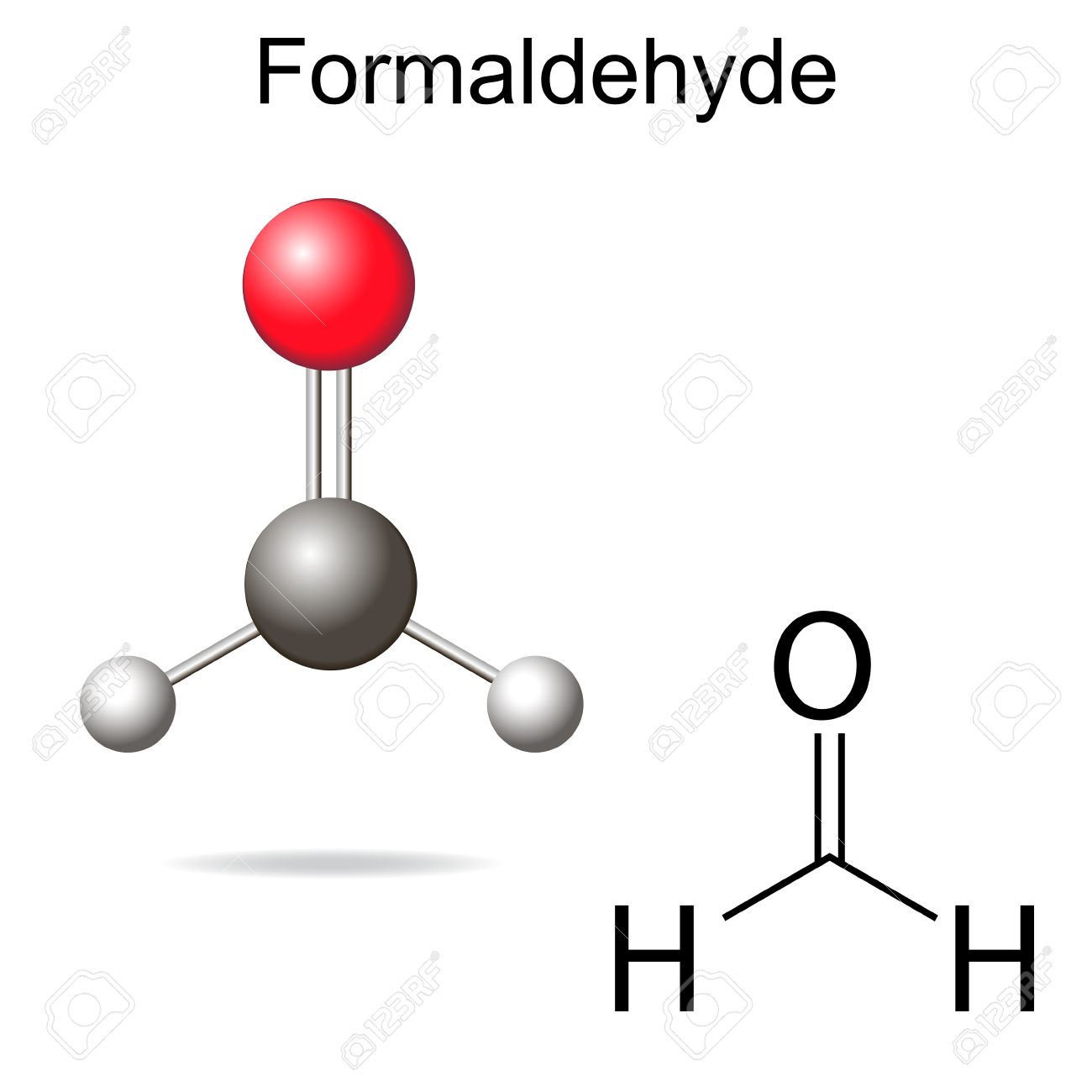 Formaldehyde model - structural chemical formula of molecule, 2d and 3d vector on white background - 43539480
