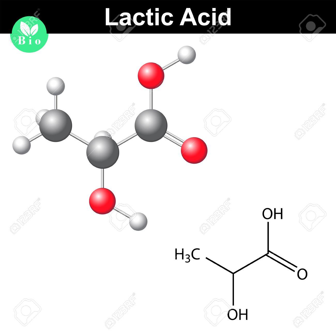Molécula De ácido Láctico, Lactato, Fórmula Química Estructural Y ...