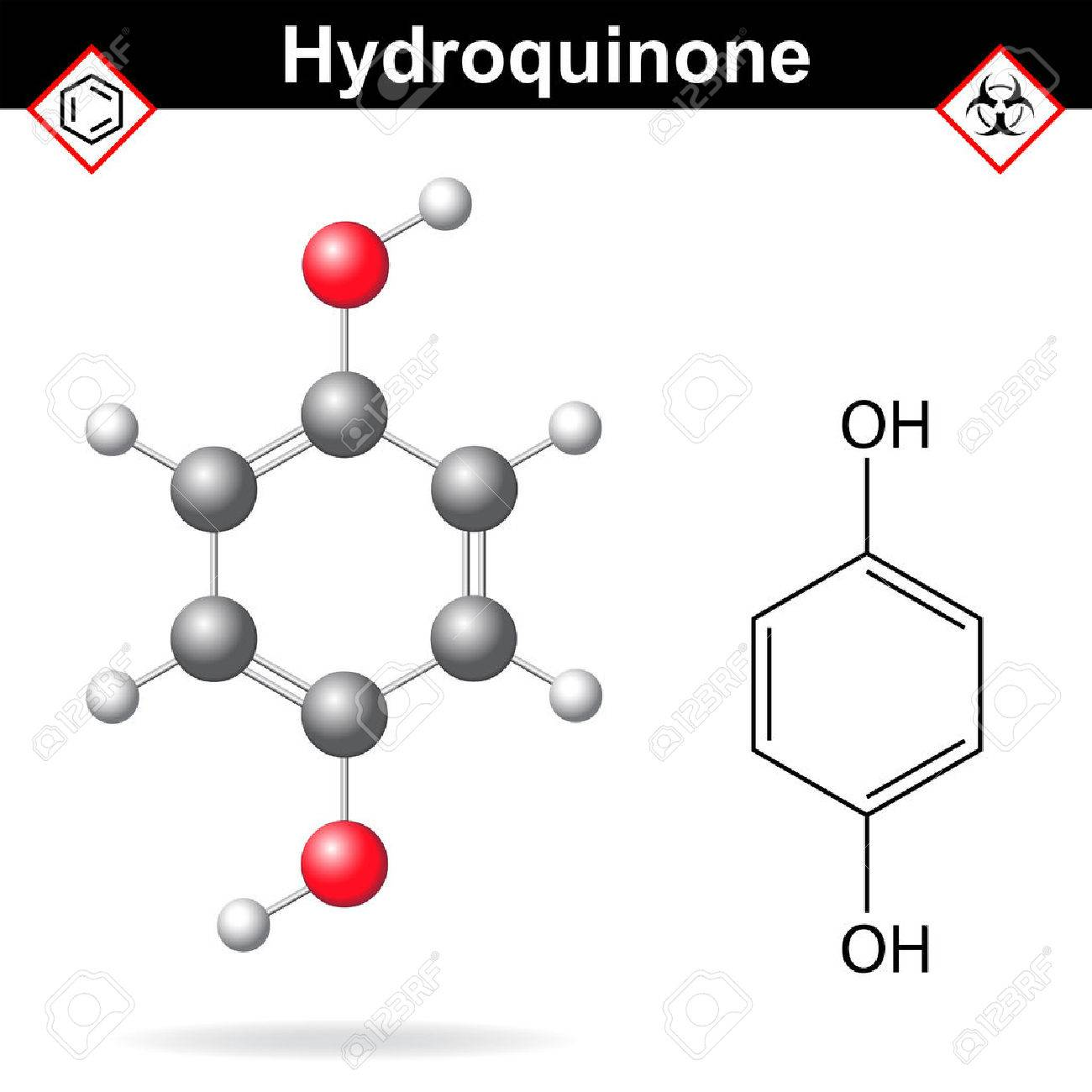 Hydroquinone - chemical formula and model, 2d and 3d vector isolated on white background, ball and stick style - 44487061