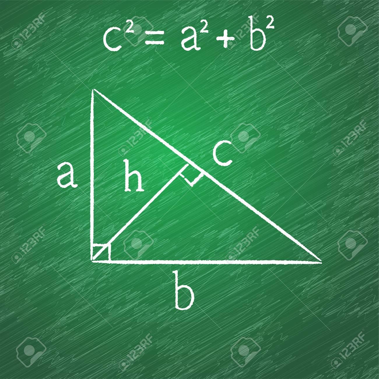 Proposición De Pitágoras En La Pizarra, Triángulo Rectángulo, Tiza ...
