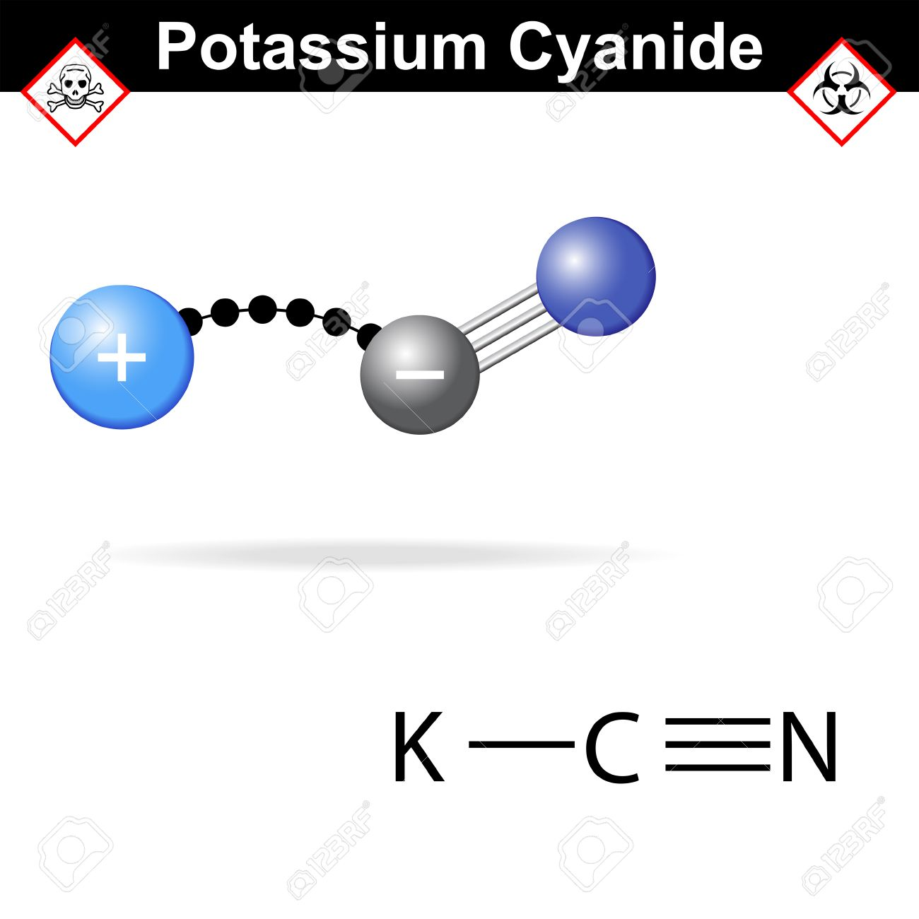Potassium cyanide molecule, fatal poison structure and model, 2d & 3d vector isolated on white background - 47310467