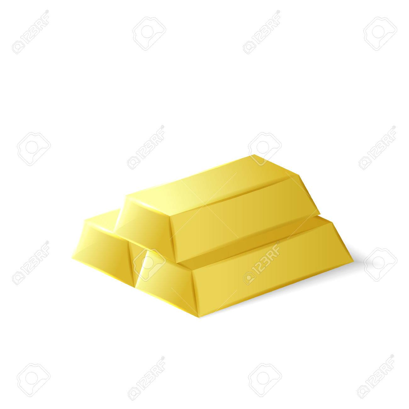Gold bars, golden investment tool, 3d vector object isolated on white background - 47310495