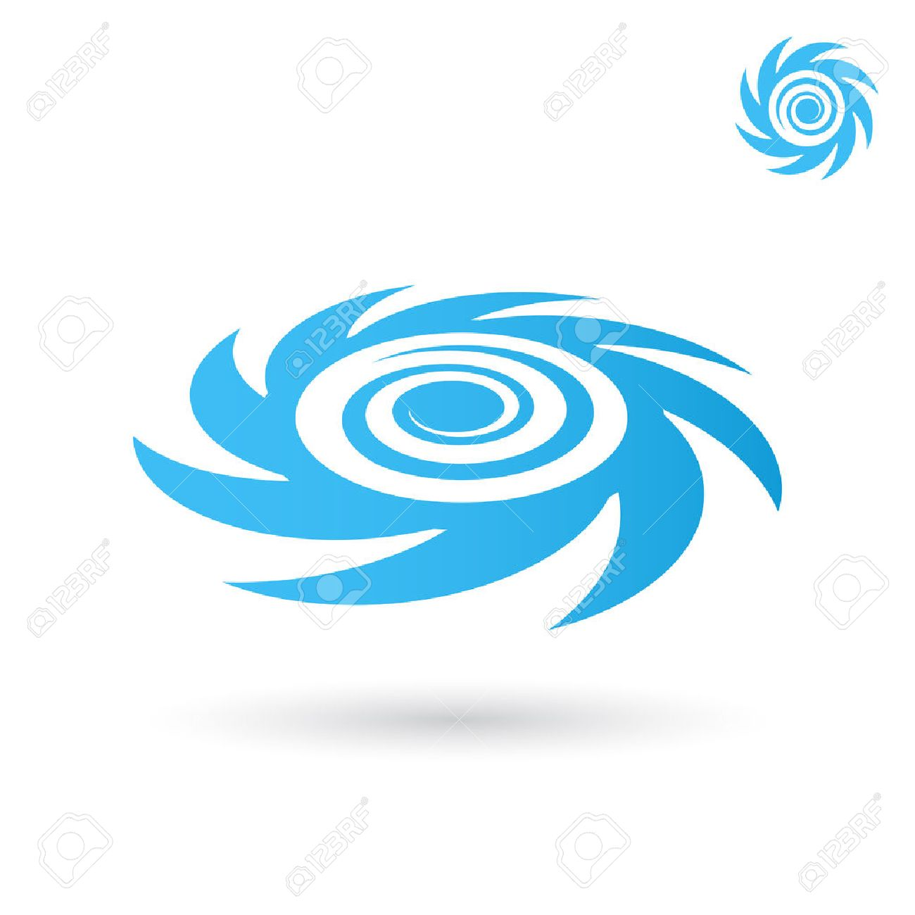 Sea tornado logo, storm icon, 2d and 3d on white background - 52558170