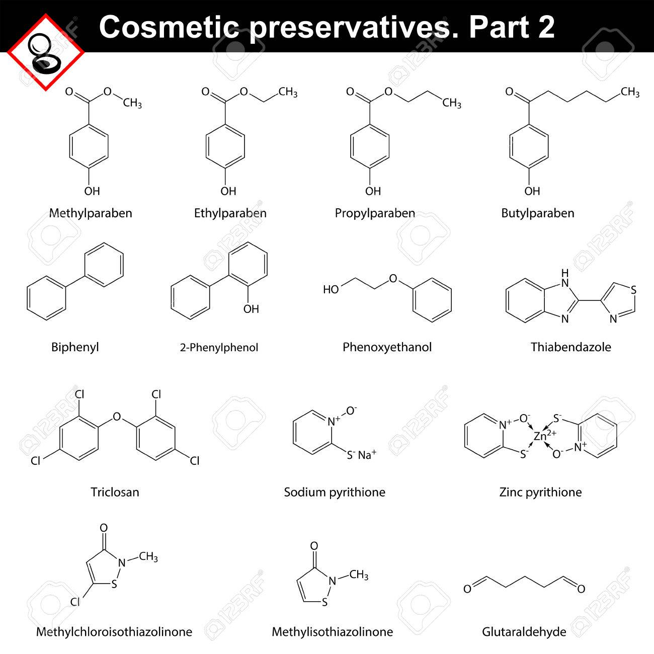 Molecular structures of main cosmetic preservatives, second set. - 55905868
