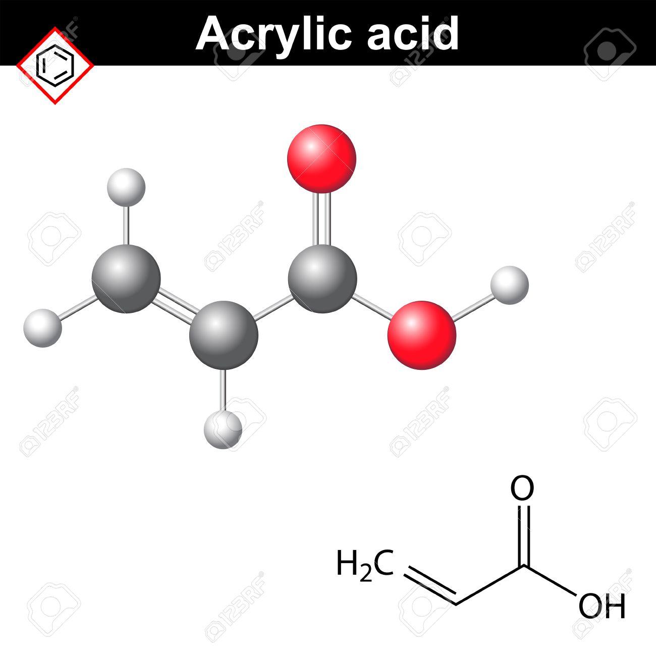 acrylic acid molecule 2d and 3d illustration of molecular structure