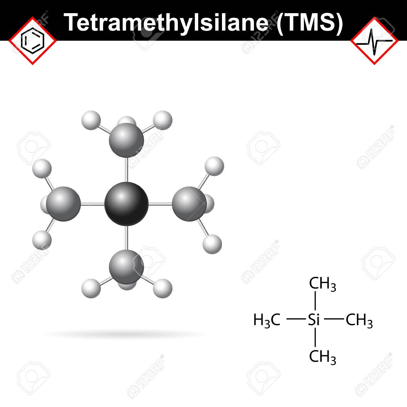 Tetramethylsilane - TMS structure, internal standard for proton magnetic resonance analysis, 2d and 3d illustration - 60321946