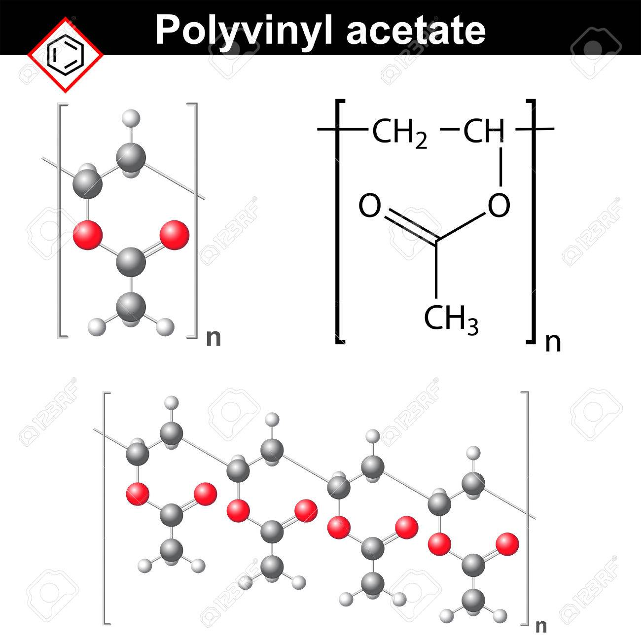 Polyvinyl acetate polymer chemical structure 2d and 3d polyvinyl acetate polymer chemical structure 2d and 3d illustration vector on white background stock biocorpaavc