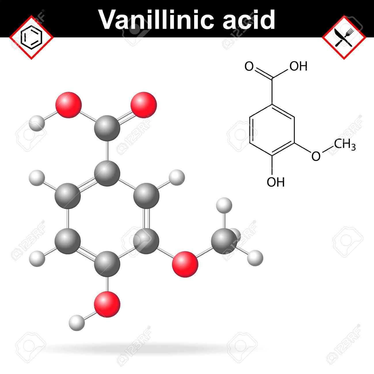 Vanillic Molécula De ácido Agente Fórmula Química Y La Estructura Molecular 2d Y 3d Ilustración Aislado Sobre Fondo Blanco Aromatizantes