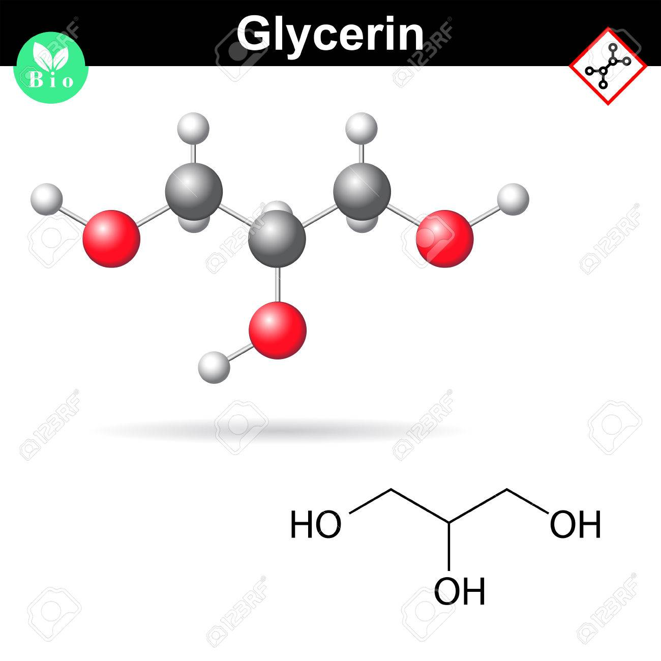 Glycerol chemical formula and model, sugar alcohol structure, 2d and 3d vector illustration, isolated on white background - 64180821