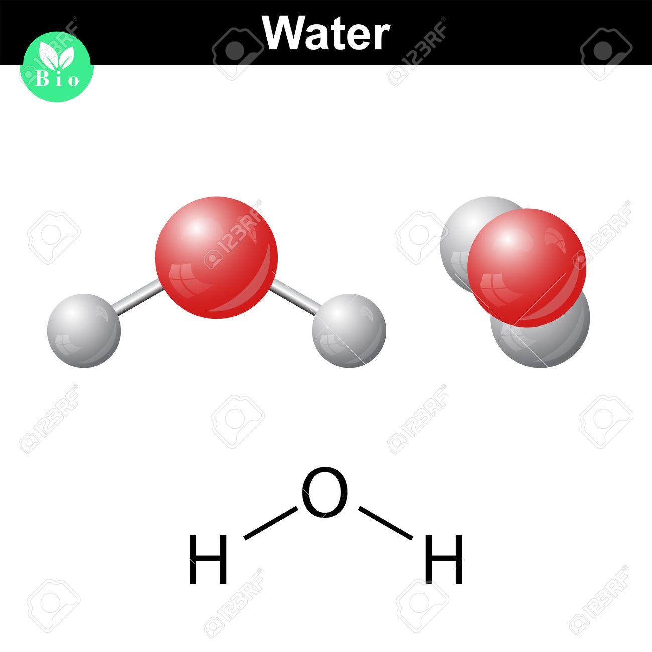 Compuesto Natural De Agua Mineral Ilustración Vectorial 2d Y 3d De La Estructura Molecular Del Agua Aislado En El Fondo Blanco