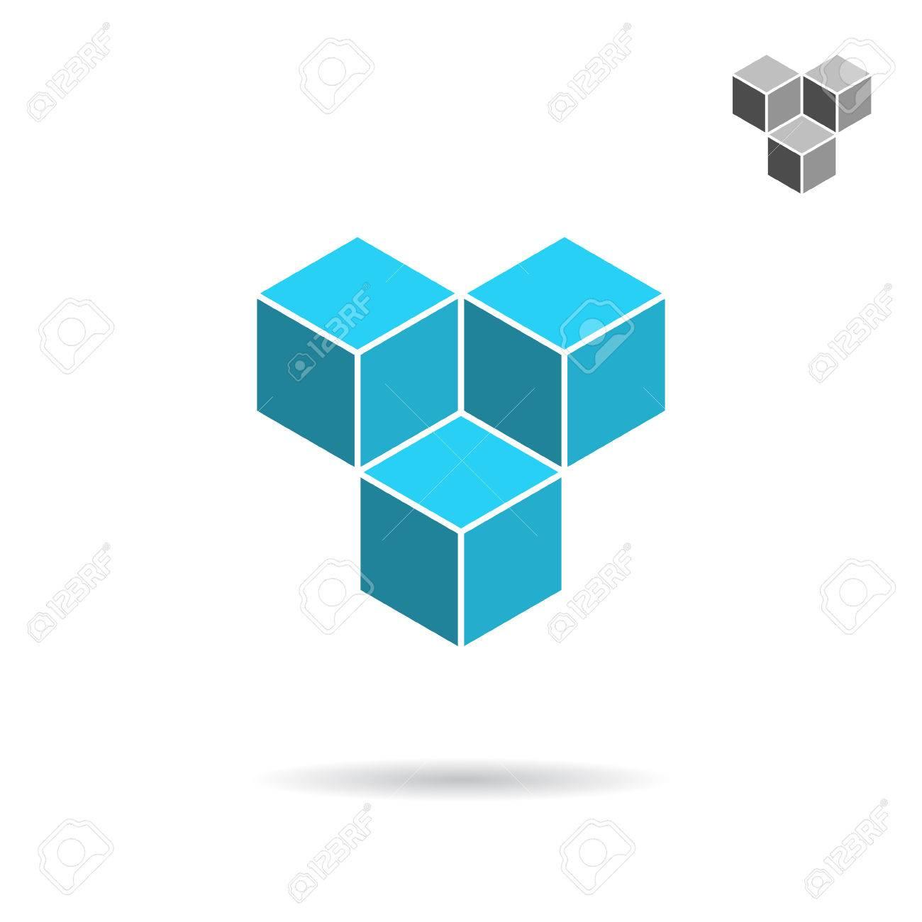 Cube-Logo-Vorlage, Zusammenarbeit Konzept, Isometrische 3D-Vektor ...