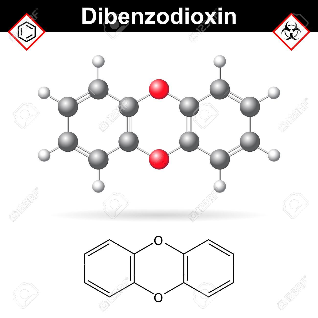 1 4 Sustancia Dibenzodioxine Policíclico Heterocíclico Química Orgánica Química Y Estructura Molecular Fórmula 2d Y 3d Ilustración Vectorial