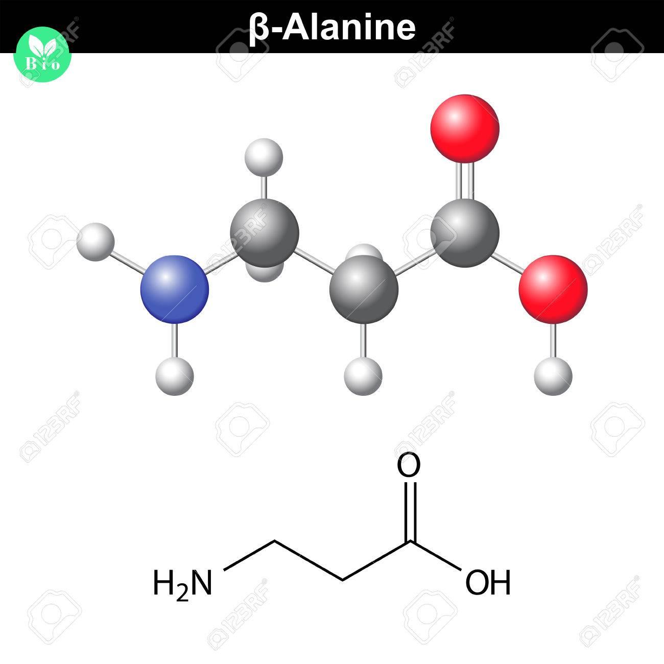 Β-アラニン分子構造、構造化学式...