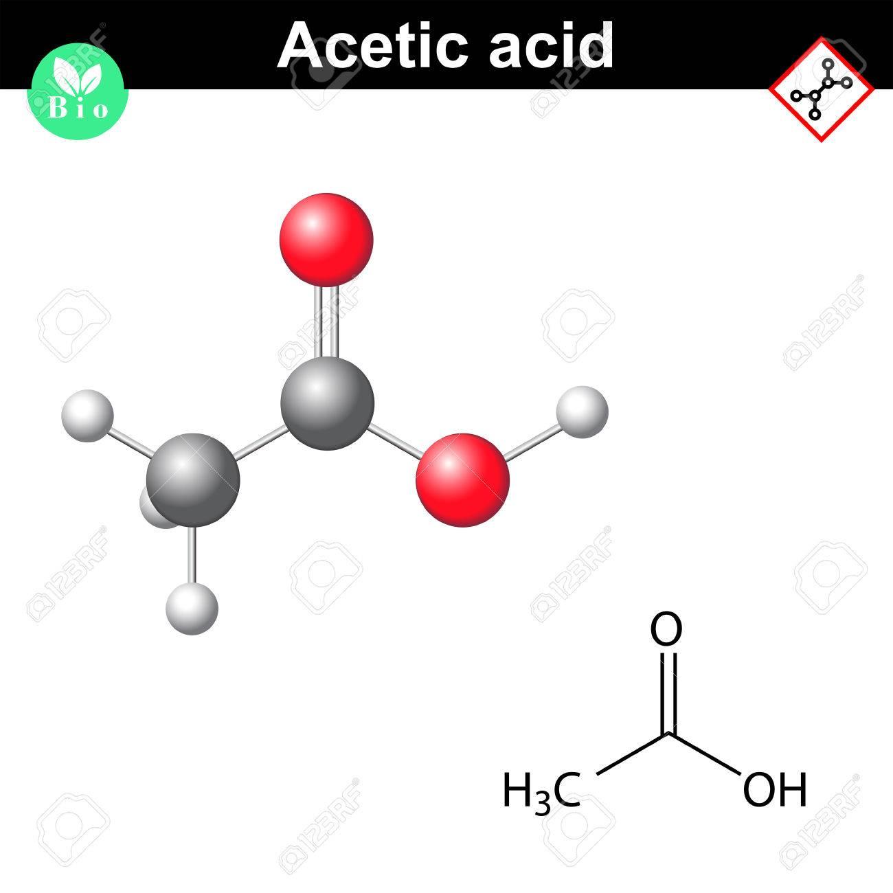 Fórmula Estructural Química Y La Estructura Molecular De La Molécula De ácido Acético 2d Y 3d Ilustración Vectorial