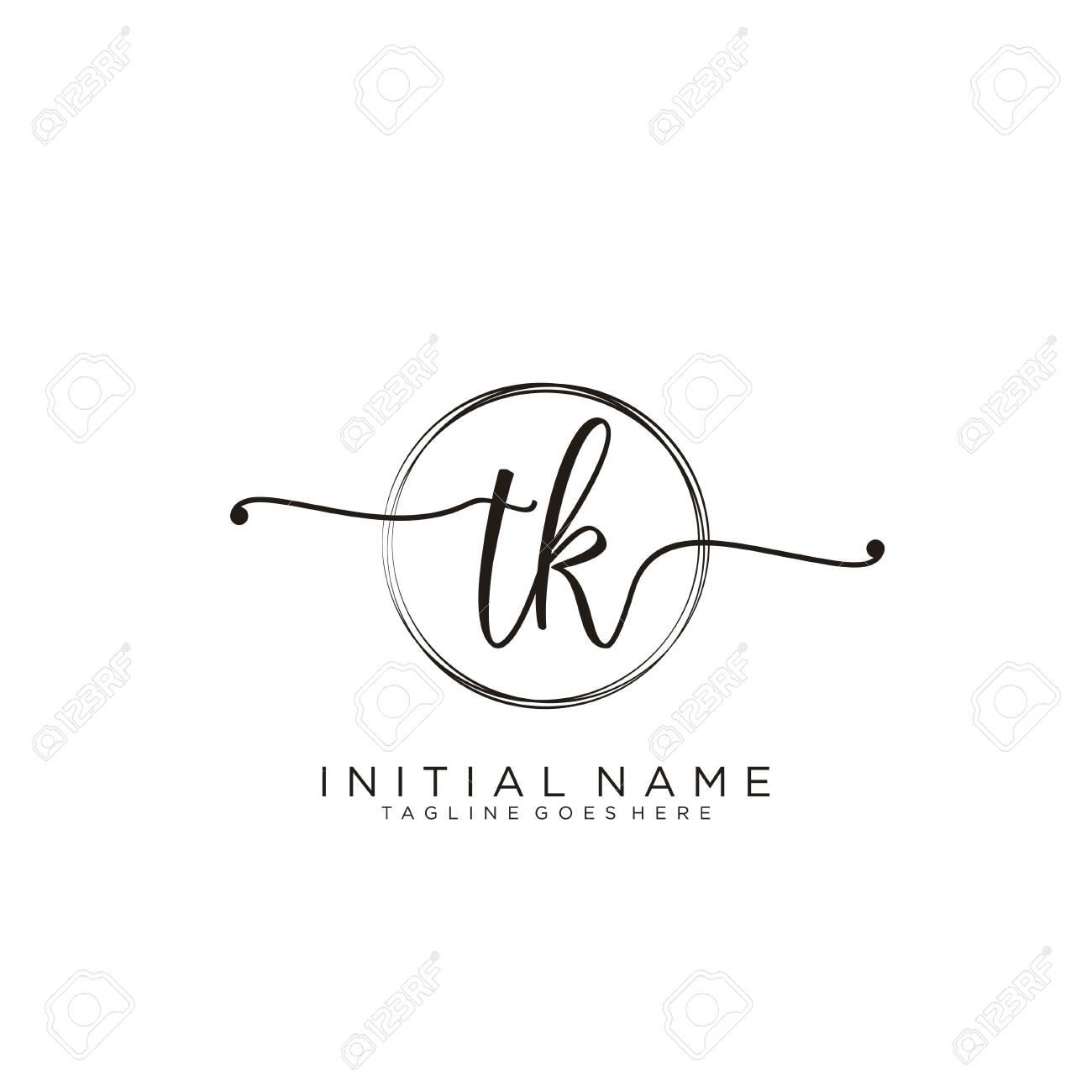 TK Initial handwriting logo with circle template vector. - 144420086