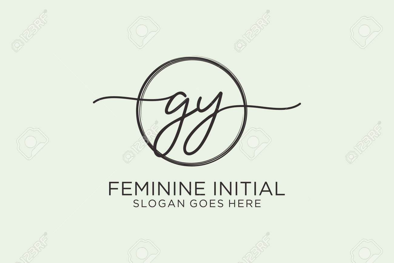 GY handwriting logo with circle template vector logo of initial signature, wedding, fashion, floral and botanical with creative template. - 173283472