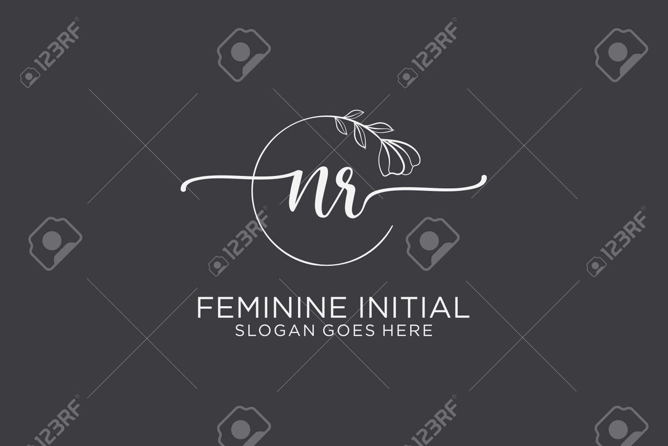 NR beauty monogram and elegant logo design handwriting logo of initial signature, wedding, fashion, floral and botanical with creative template. - 173410057