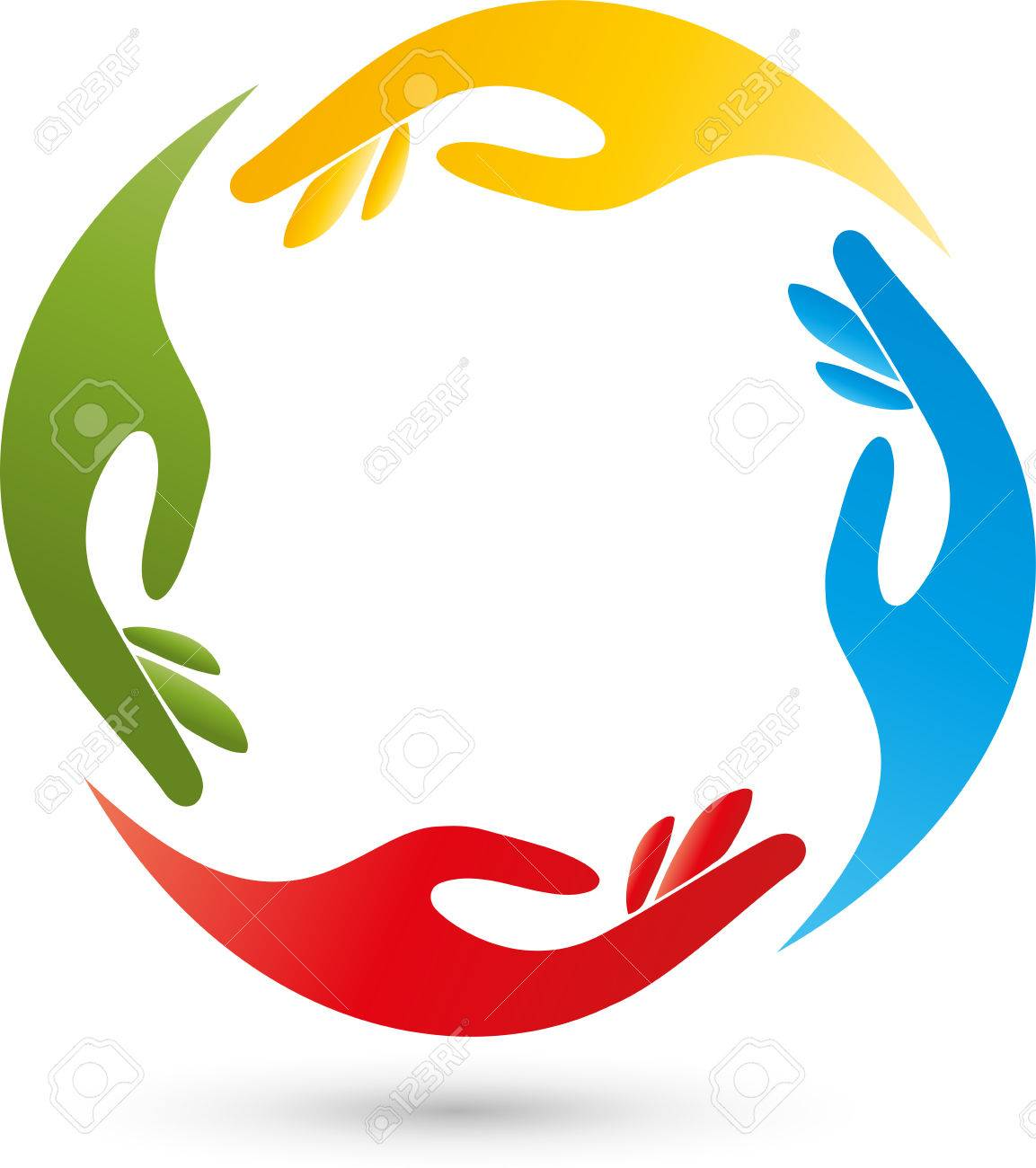 four hands helpers team logo royalty free cliparts vectors and