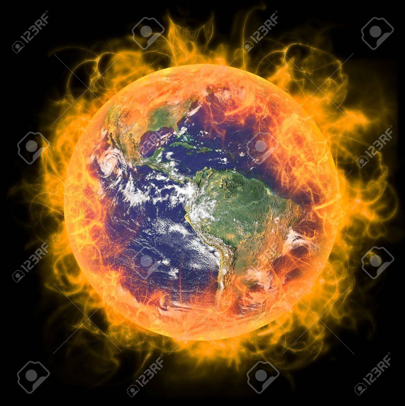 Real Earth Planet in space. In red fire. Remodeled from real Earth NASA foto. Stock Photo - 8367853