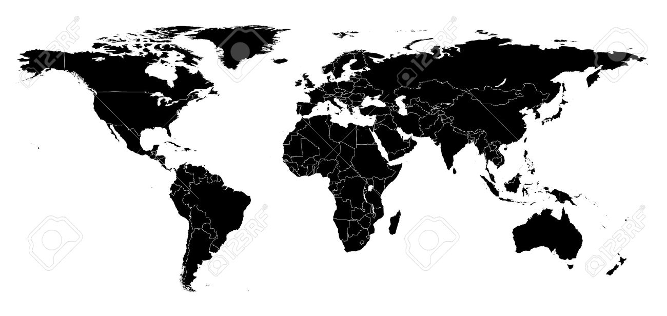 Real detail world map of continents black and white illustration real detail world map of continents black and white illustration maked work gumiabroncs Images