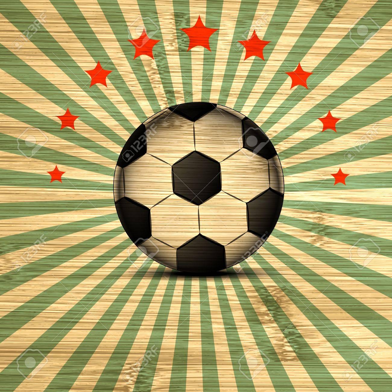 Foto de archivo - Tarjeta retra de fútbol Ilustración en colores de la  bandera de Brasil. El balón de fútbol. d6027ef51b5bf