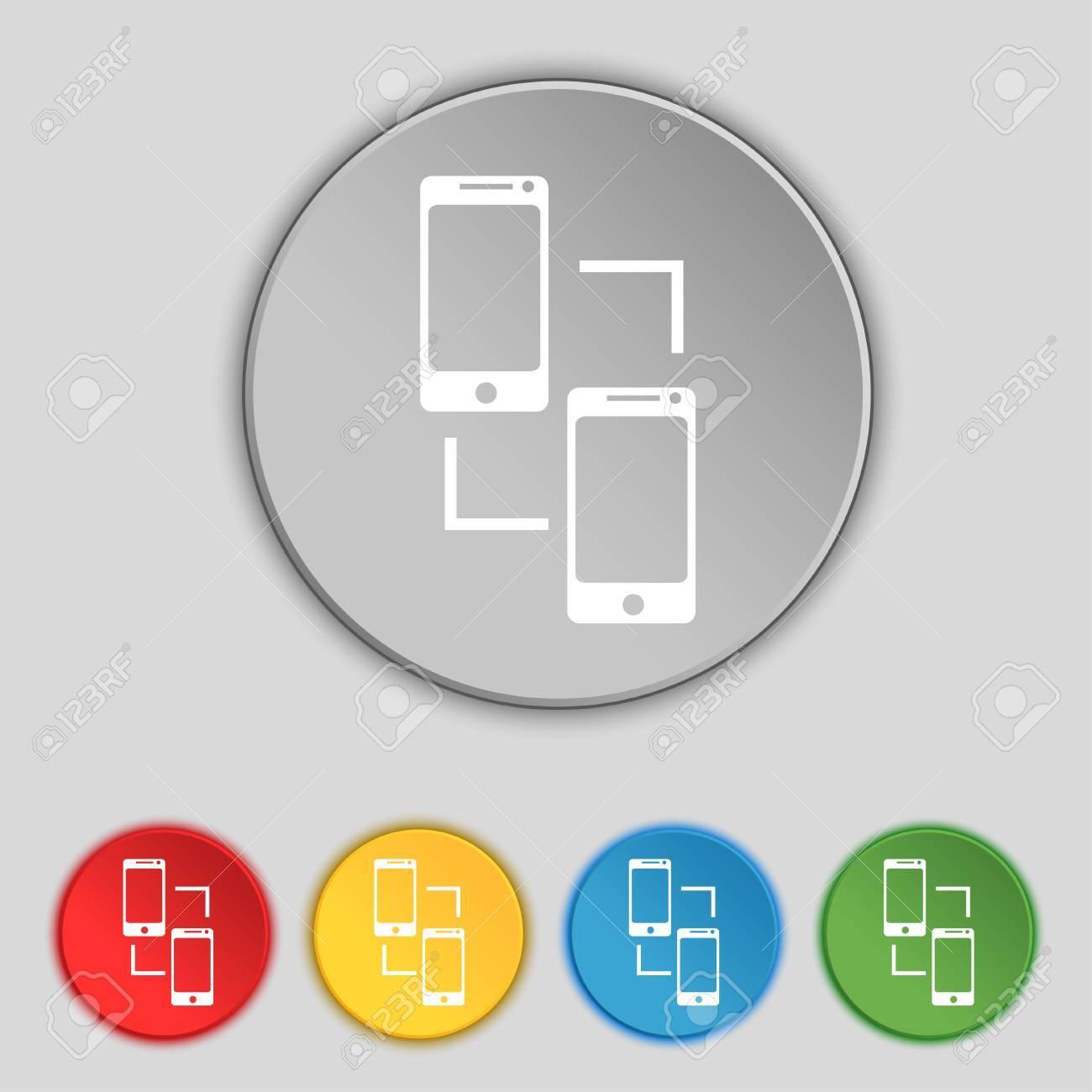 Synchronization sign icon smartphones sync symbol data exchange synchronization sign icon smartphones sync symbol data exchange set colur buttons vector illustration biocorpaavc