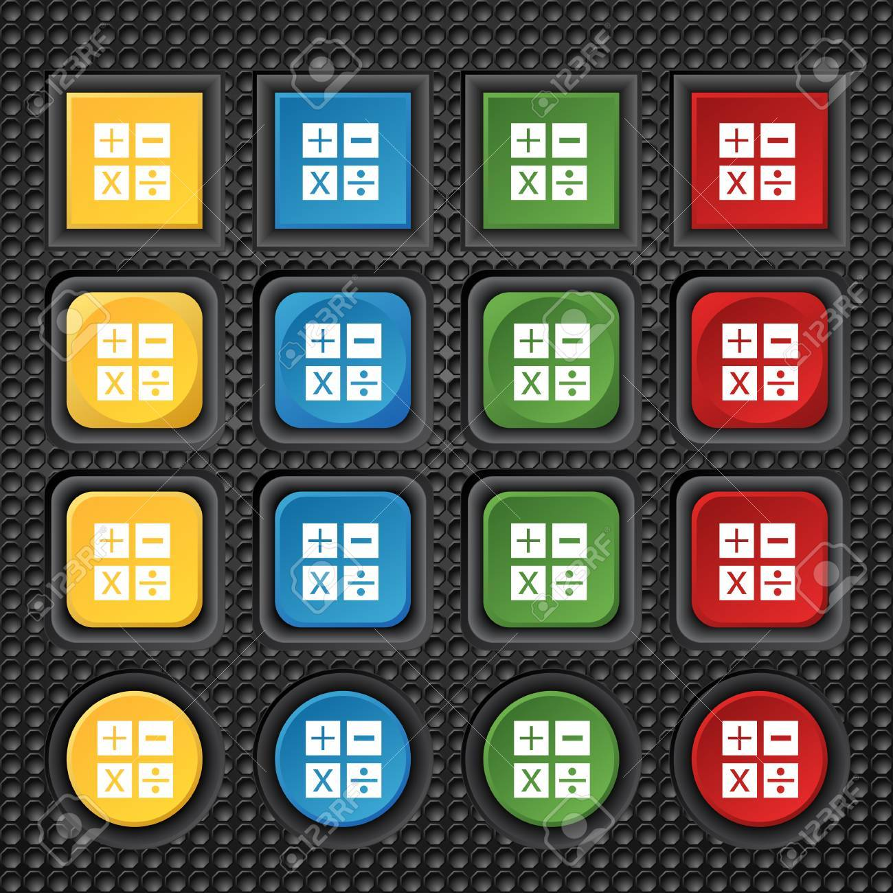 Multiplication division plus minus icon math symbol mathematics multiplication division plus minus icon math symbol mathematics set of colour buttons stock biocorpaavc Image collections
