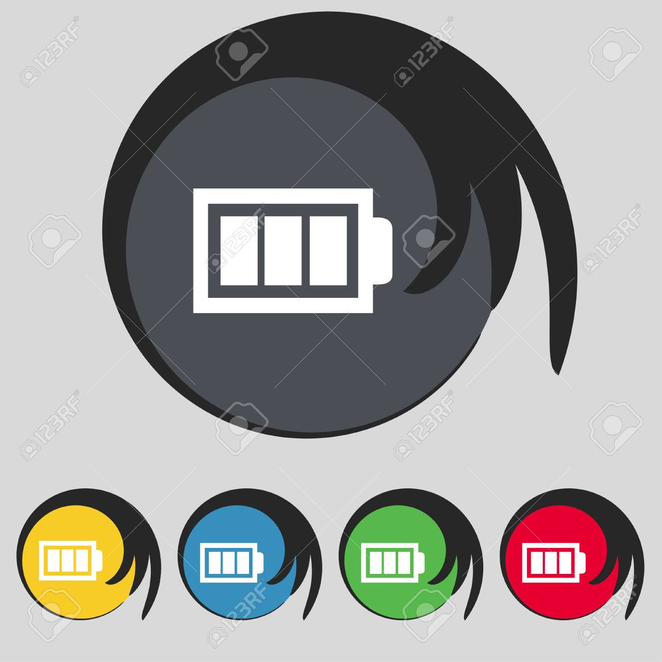 Battery Fully Charged Sign Icon. Electricity Symbol. Set Of Colour ...