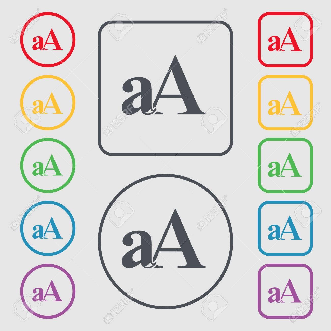 Schrift Vergrößern Aa Symbol Zeichen Symbol Auf Der Runde Und