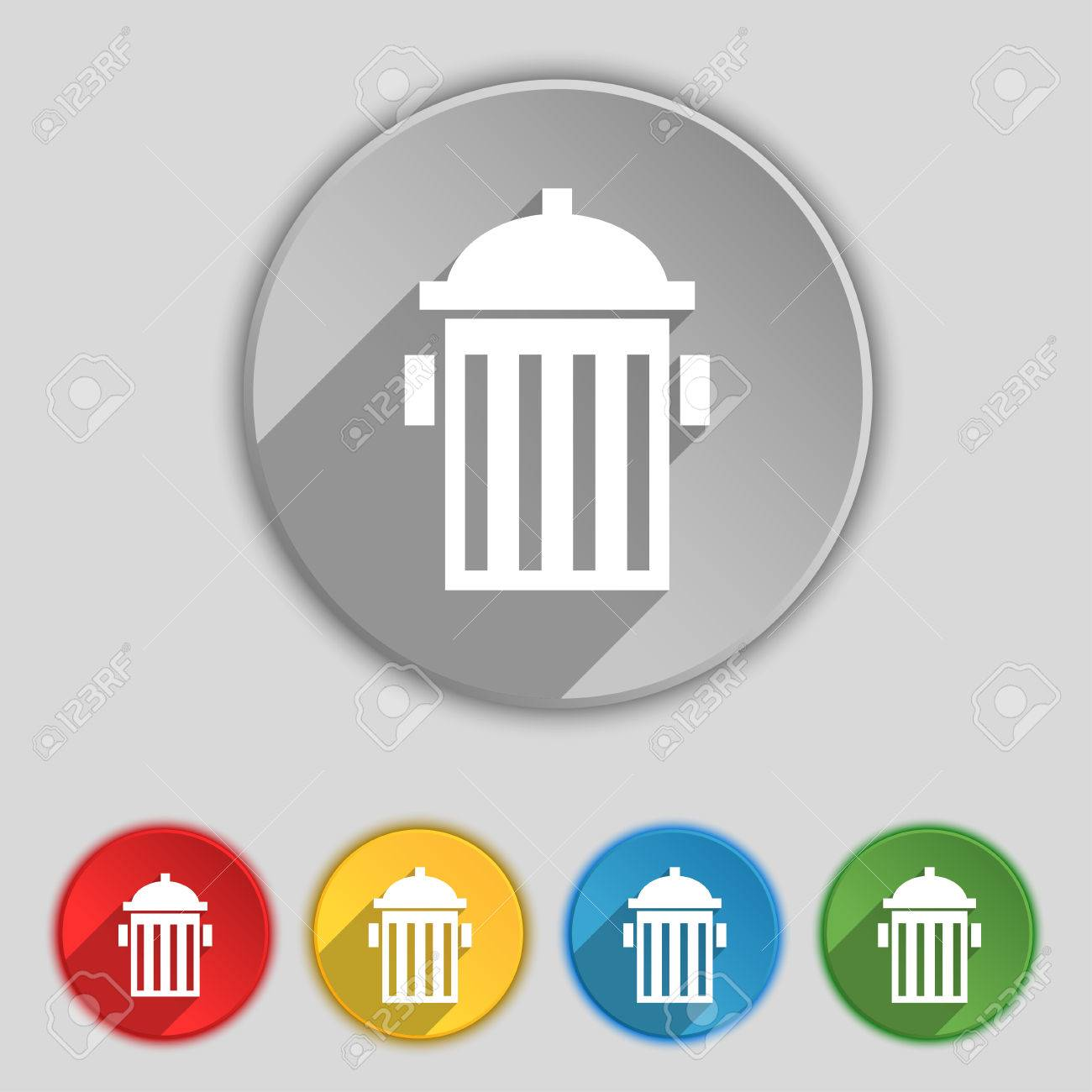 Fire Hydrant Icon Sign Symbol On Five Flat Buttons Royalty Free