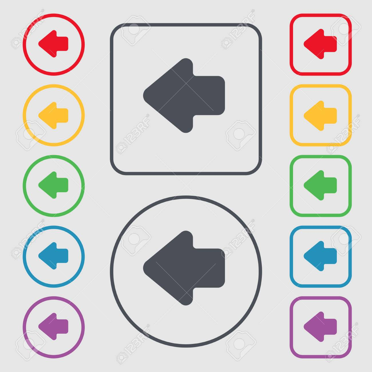 Flecha Izquierda, Salida Icono De Signo. Símbolo En El Botones ...