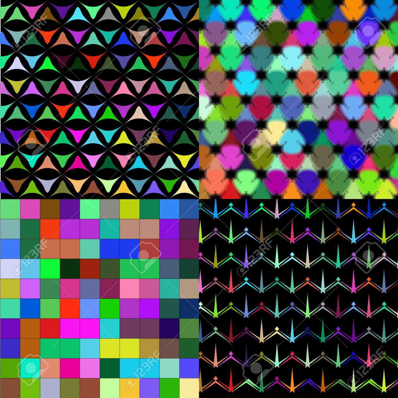 Archivio Fotografico   Set Di Astratto Arcobaleno Colorato Piastrelle  Mosaico Pittura Geometrica Palette Sfondo Pattern. Illustrazione