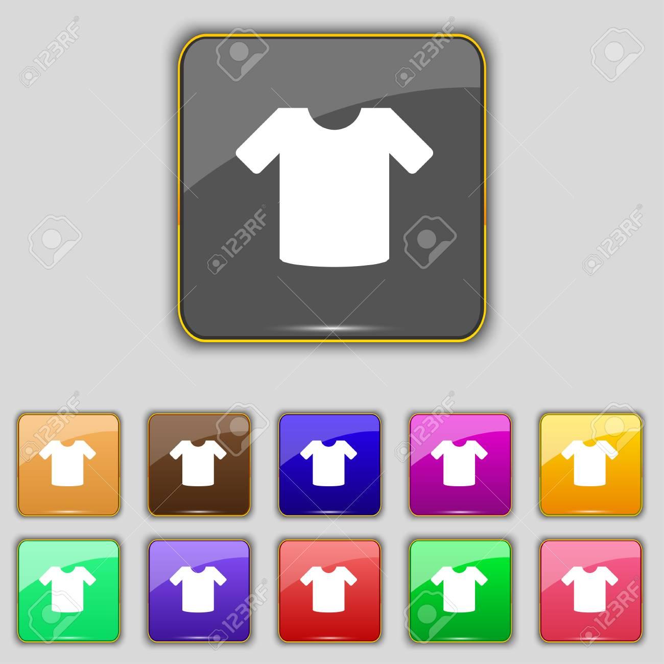 T-Shirt, Kleidung Symbol Schild. Set Mit Elf Farbigen Tasten Für ...