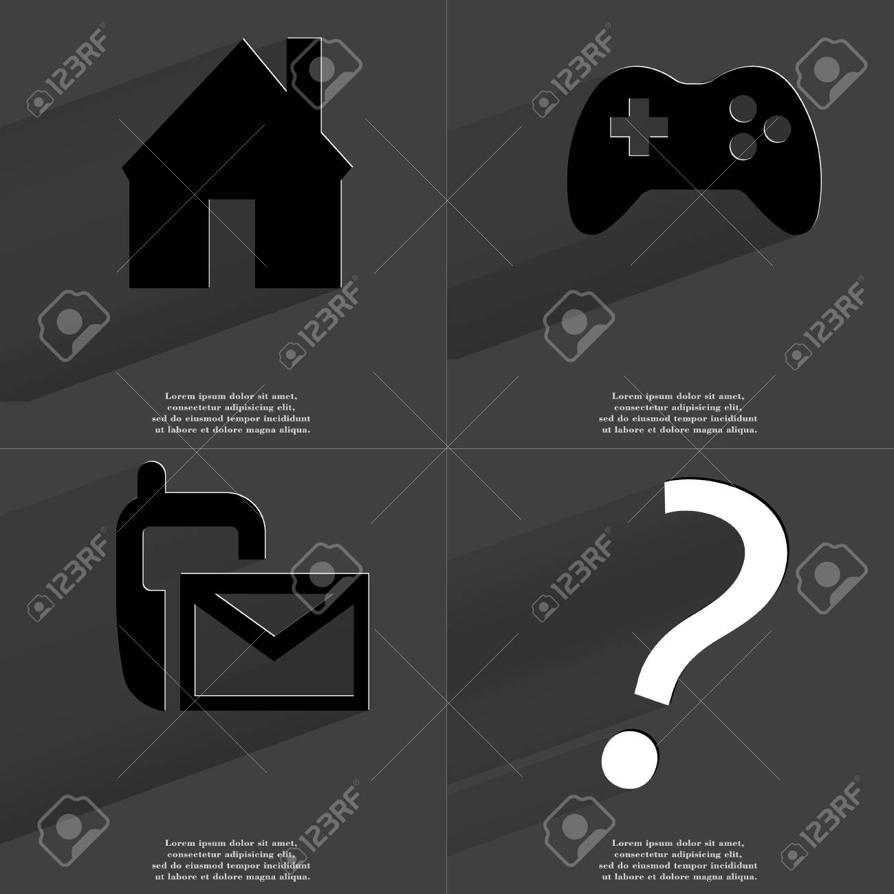 House gamepad sms icon question mark symbols with long shadow house gamepad sms icon question mark symbols with long shadow flat biocorpaavc Images