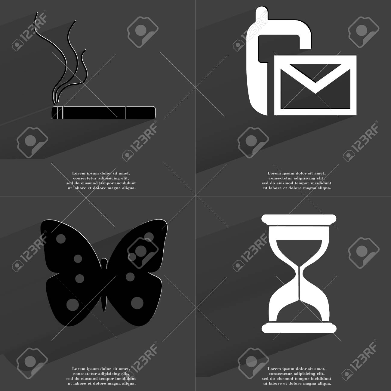 Cigarette sms icon butterfly hourglass symbols with long cigarette sms icon butterfly hourglass symbols with long shadow flat design biocorpaavc Images