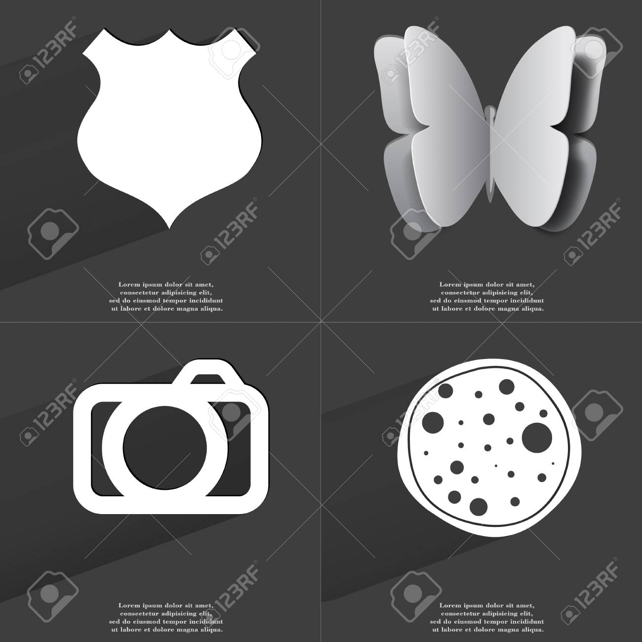Police Badge Butterfly Camera Pizza Icon Sign Set Of Symbols
