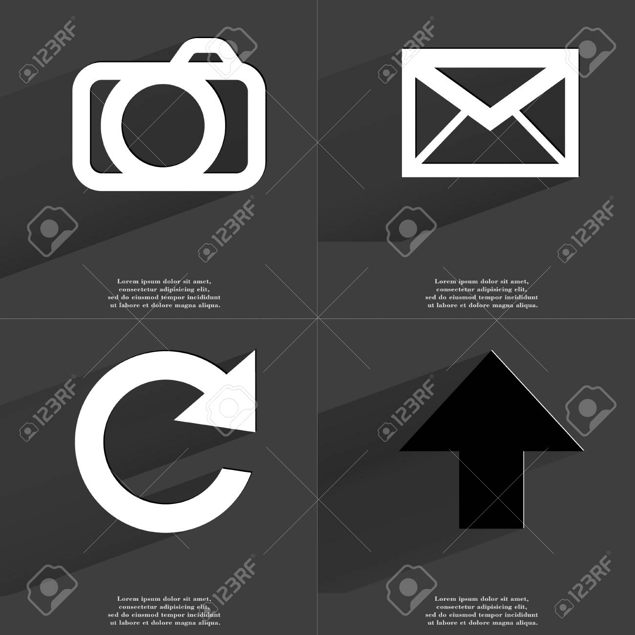 Camera Message Reload Arrow Directed Upwards Icon Sign Set