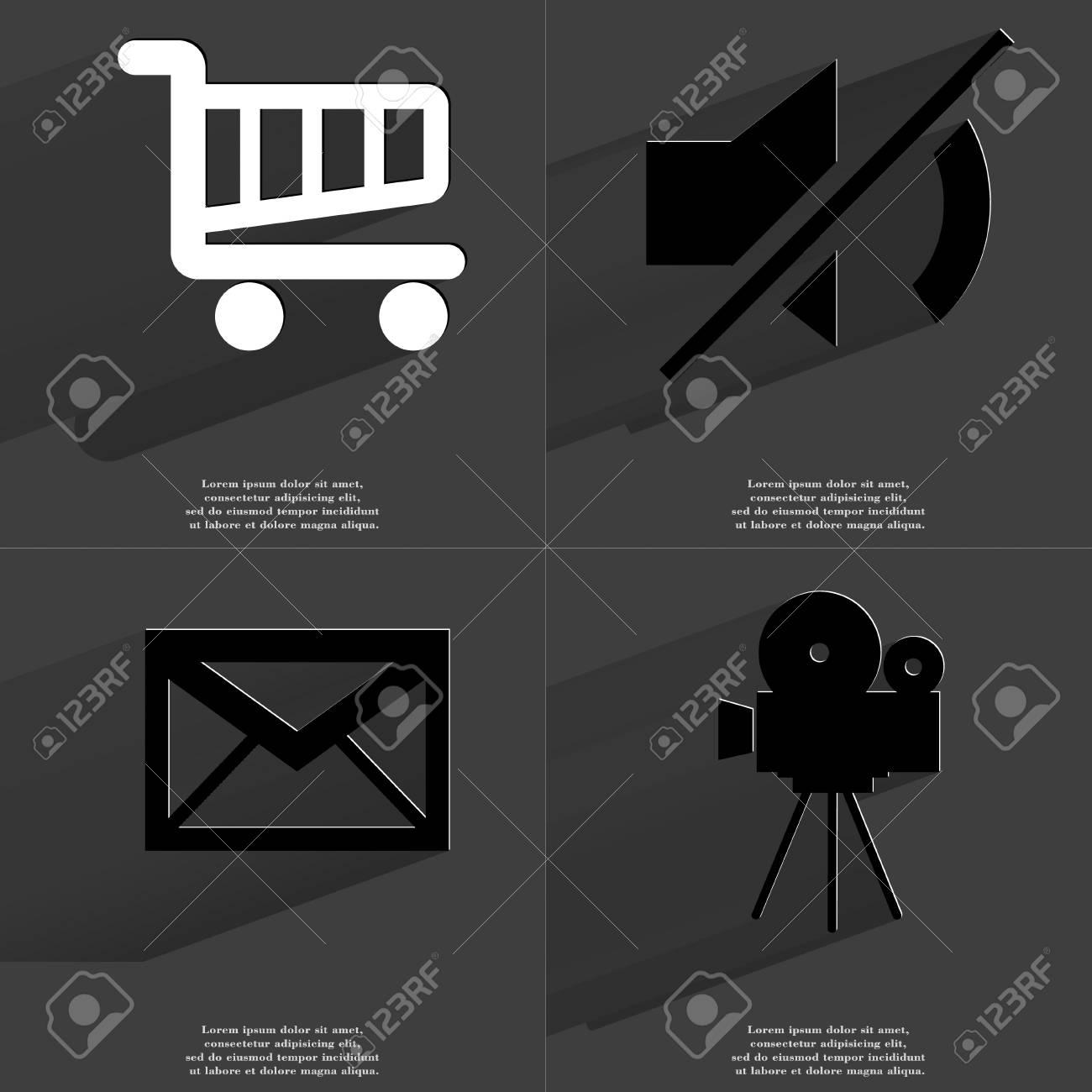 Shopping Cart Mute Message Film Camera Icon Sign Set Of Symbols