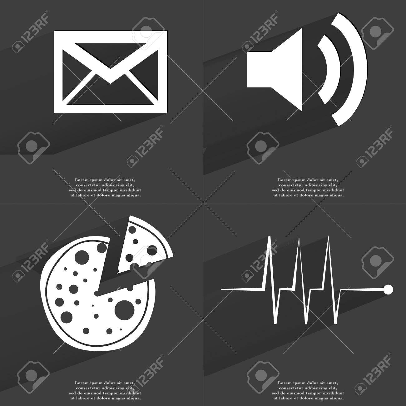 Message Sound Pizza Pulse Icon Sign Set Of Symbols With Flat