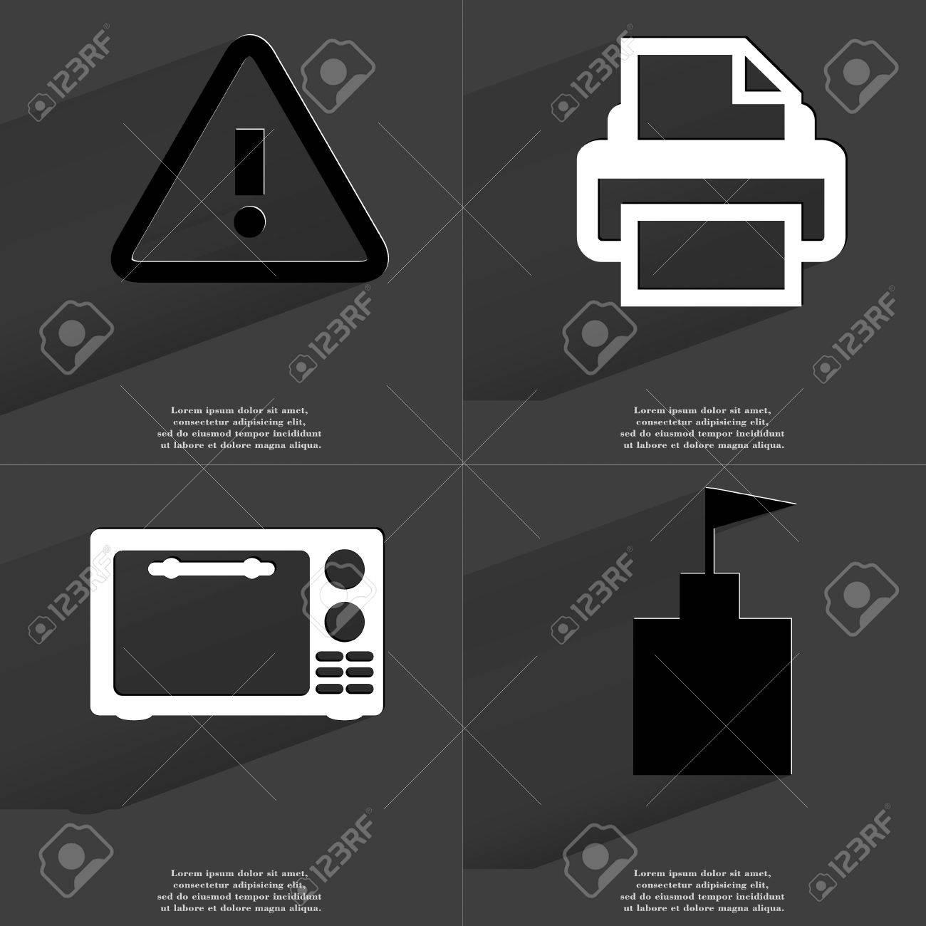 Warning printer microwave flag tower icon sign set of symbols warning printer microwave flag tower icon sign set of symbols with flat buycottarizona