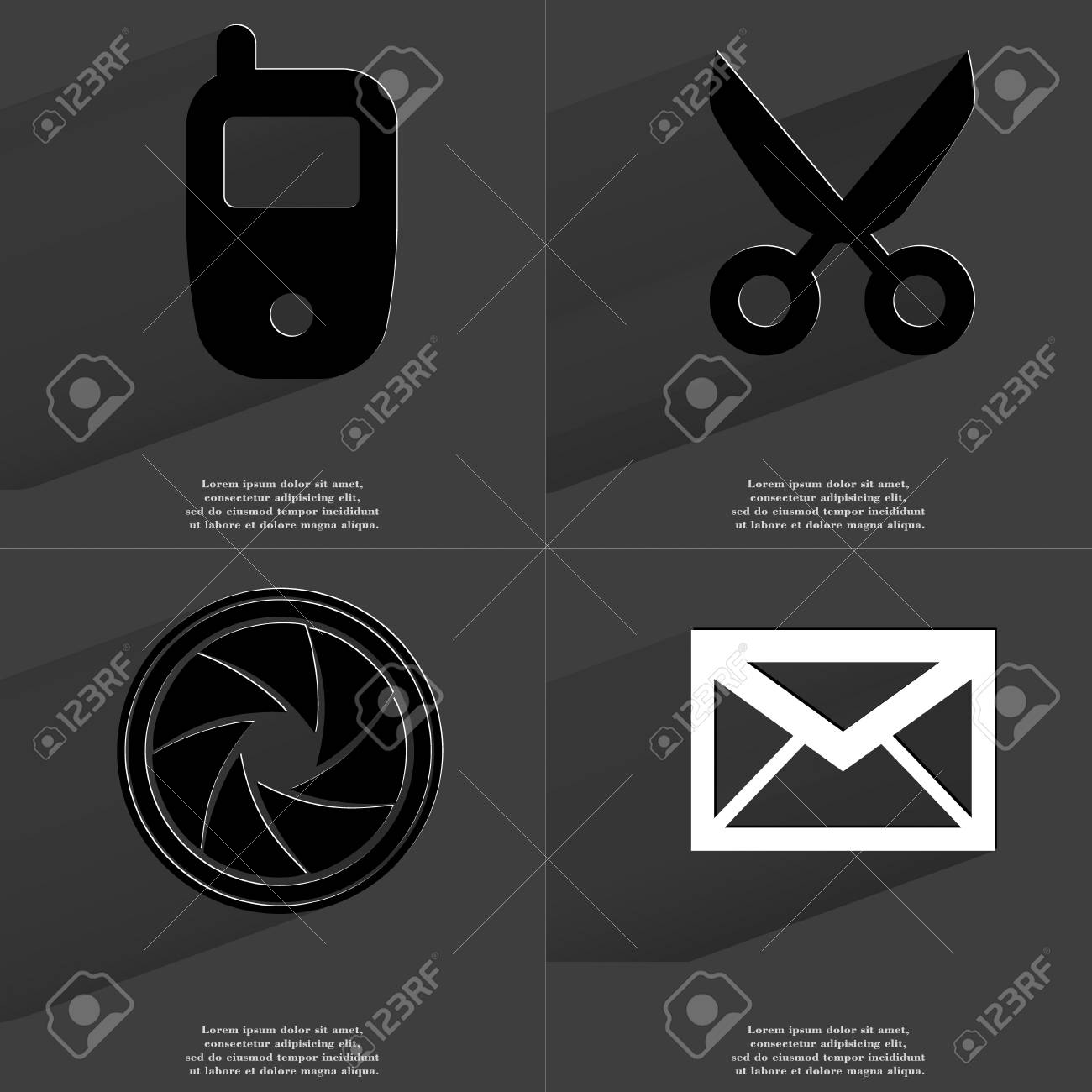 Mobile Phone Scissors Lens Message Icon Sign Set Of Symbols