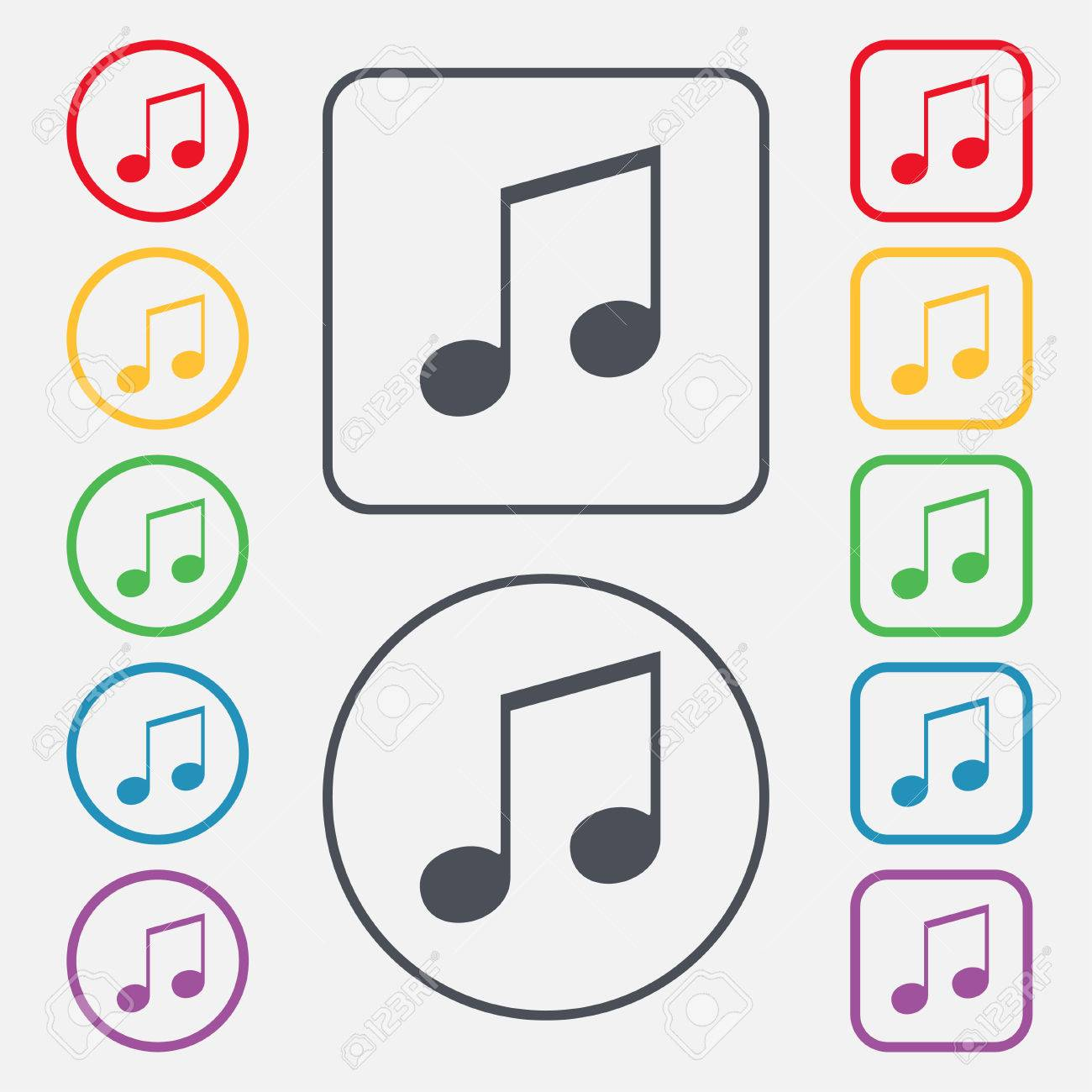 Musical Note Music Ringtone Icon Sign Symbol On The Round