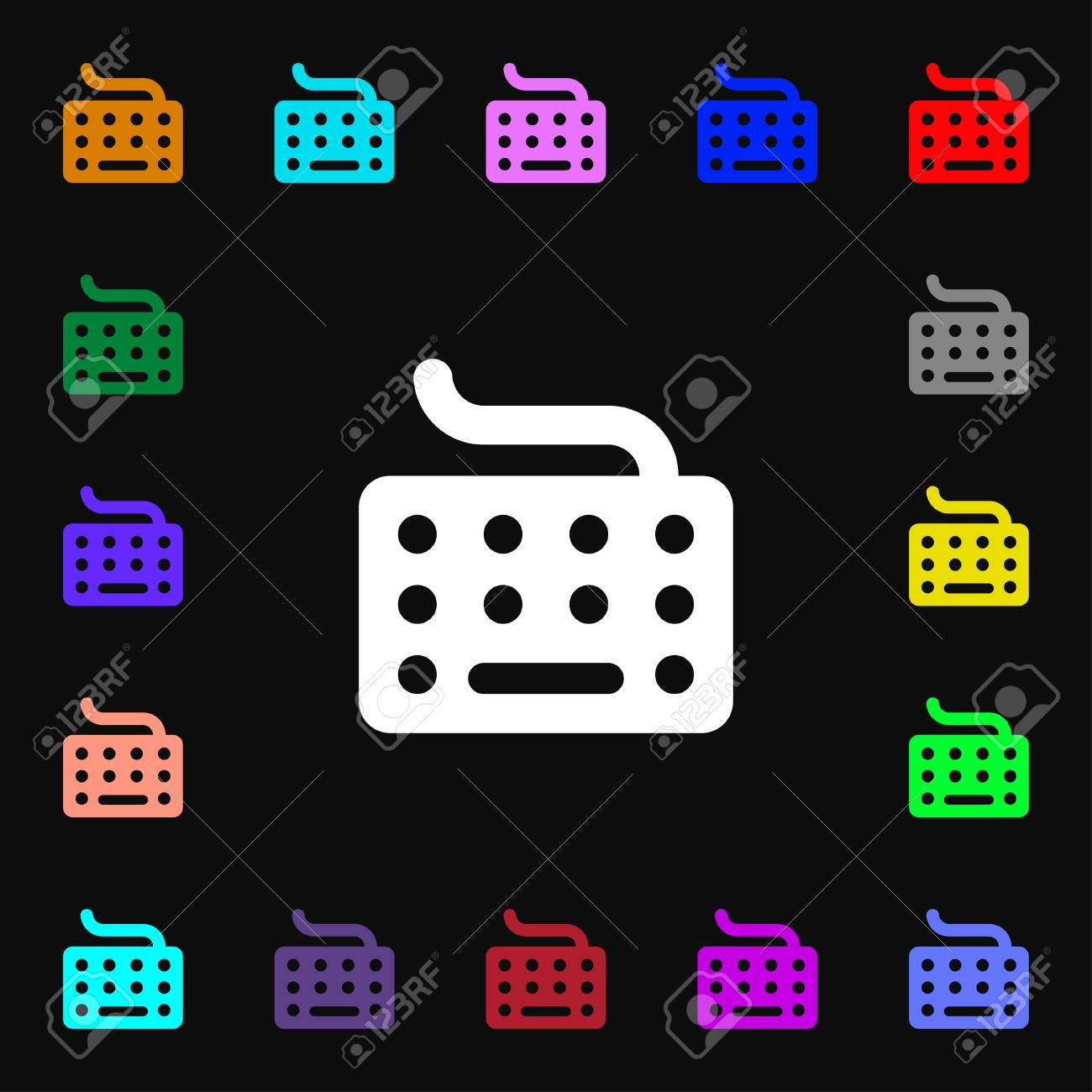Keyboard Icon Sign Lots Of Colorful Symbols For Your Design