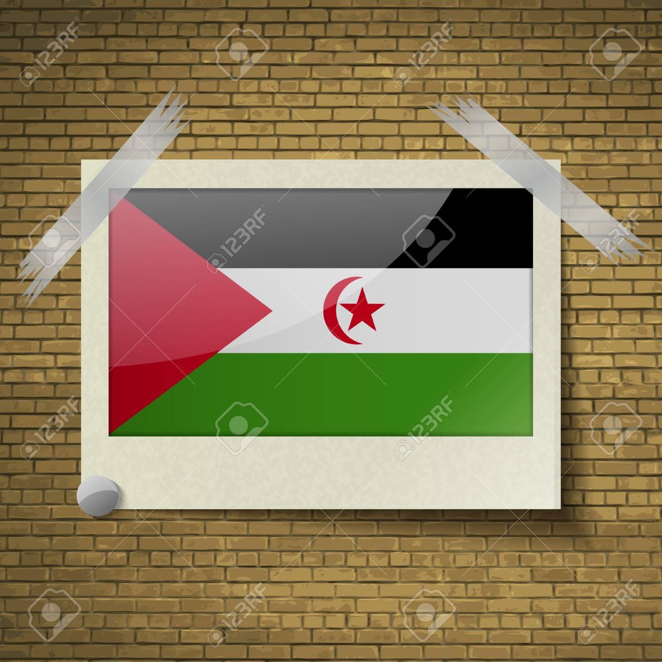 Banderas Del Sáhara Occidental En El Marco Sobre Un Fondo De ...