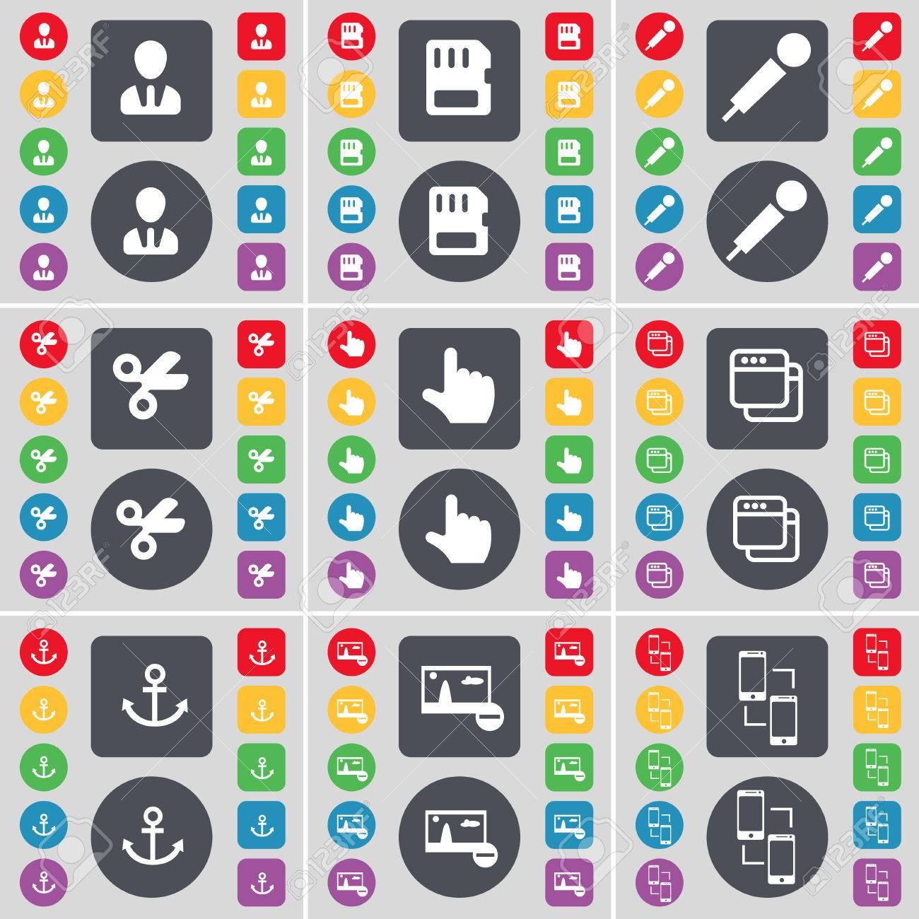 Avatar, SIM-Karte, Mikrofon, Schere, Hand, Fenster, Anker, Bild ...