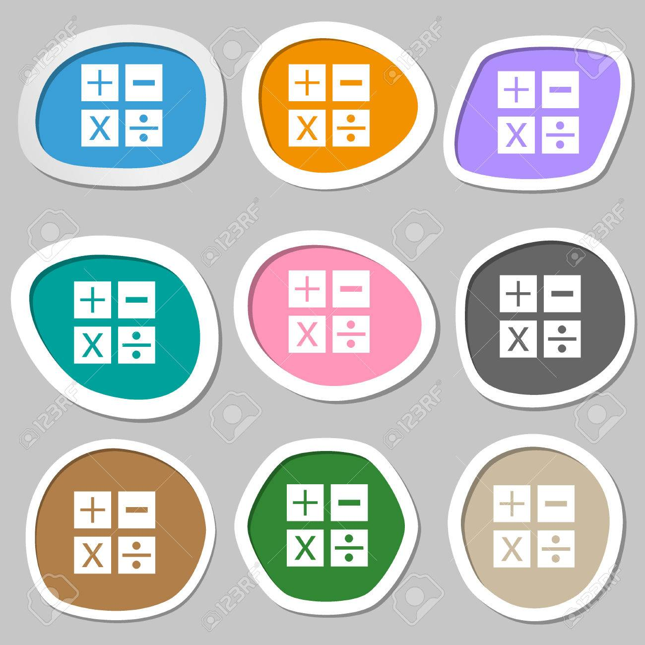 Multiplication division plus minus icon math symbol mathematics multiplication division plus minus icon math symbol mathematics multicolored paper stickers biocorpaavc Image collections