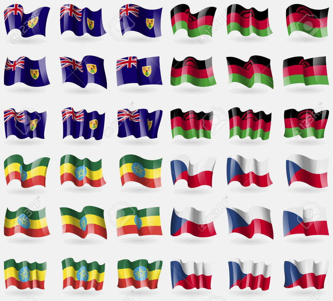 Islas Turcas Y Caicos Malawi Etiopia Conjunto De 36 Banderas De