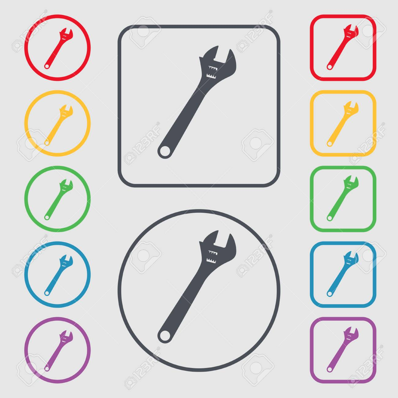 Signo Icono De Llave Inglesa. Símbolo En El Botones Cuadrados Con ...