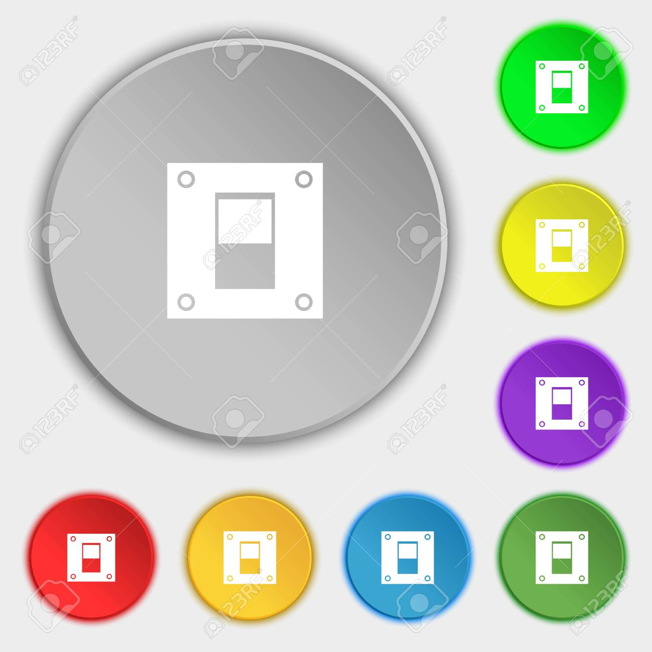 Power Switch Icon Sign. Symbols On Eight Flat Buttons. Illustration ...
