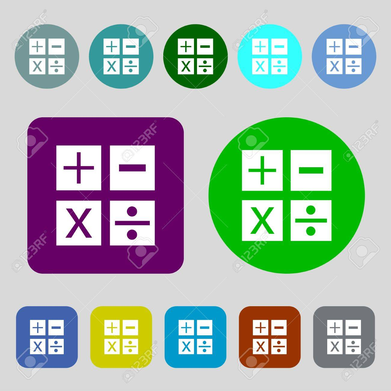 Multiplication division plus minus icon math symbol mathematics multiplication division plus minus icon math symbol mathematics12 colored buttons biocorpaavc Image collections